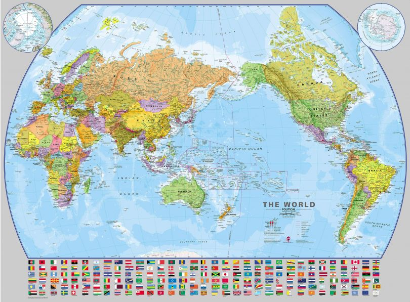 Us Standard Paper Pacific Centered World Executive Map - Us-centered-world-map