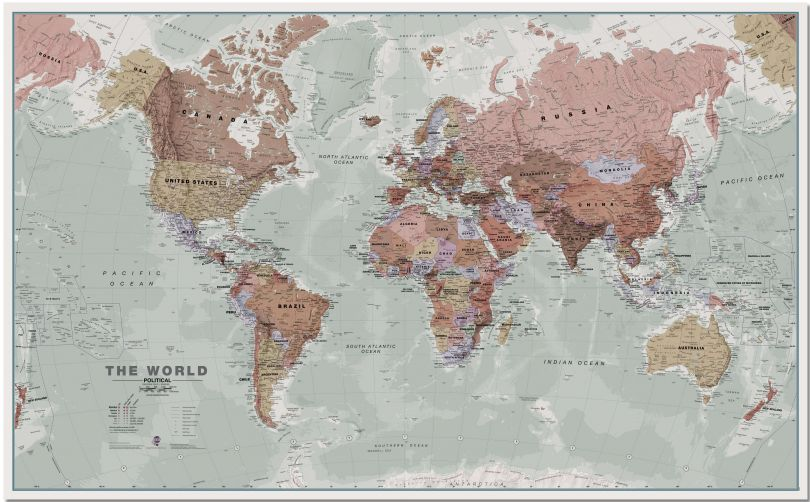 Large Executive World Wall Map Political (Pinboard)
