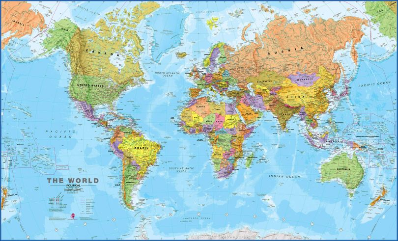 Large World Wall Map Political (Laminated)